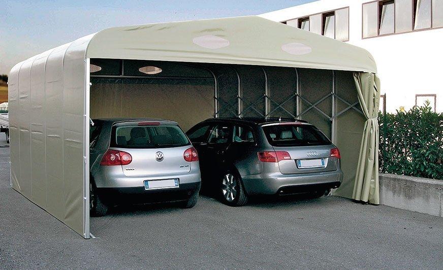 Intenda produkuje także większe, podwójne boksy garażowe. Może to pomysł na zaparkowanie samochodu osobowego ikampera, albo osobówki iprzyczepy?