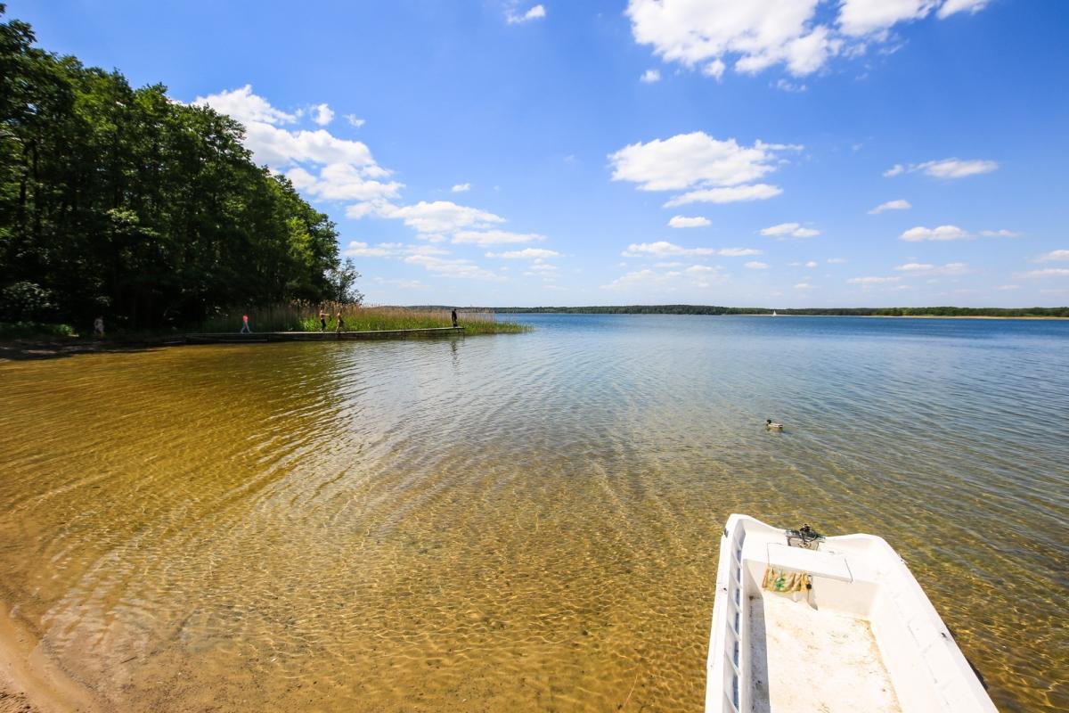 Woda w jeziorze jest krystalicznie czysta, to świetne miejsce na wypad kamperem