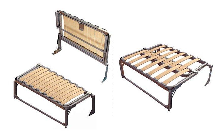 """""""Sprytna ławka"""" (Smart Bench) to moduł o regulowanej długości (w zakresie od 615 mm do 995 mm) z aluminiowych rurek doposażonych w drewniane listwy, dlatego waży tylko 15 kg"""