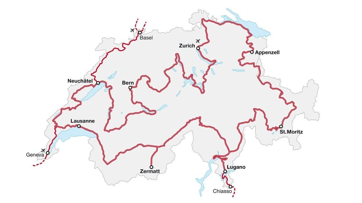 Tak przebiega licząca 1643 km trasa Grand Tour of Switzerland.