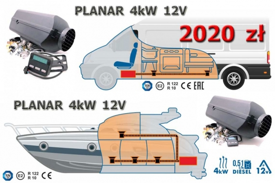 dewasto webasto ogrzewanie postojowe suche diesel PLANAR 4kW 12V na kamper lub yacht